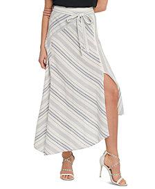 DKNY Striped Asymmetrical Midi Skirt