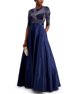 Printed-Bodice Ball Gown