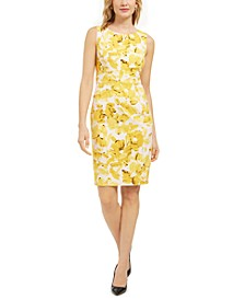 Monet Floral-Print Crepe Sleeveless Sheath Dress