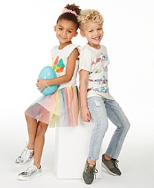 Toddler & Litlle Boys Dino Stripe T-Shirt & Destroyed Jeans and Toddler & Little Girls Cupcake Tutu Dress, Created for Macy's