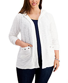 Belldini Plus Size Grommet-Pocket Hoodie Cardigan