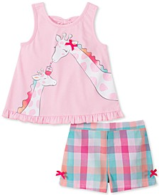 Toddler Girls 2-Pc. Giraffe Top & Plaid Shorts Set