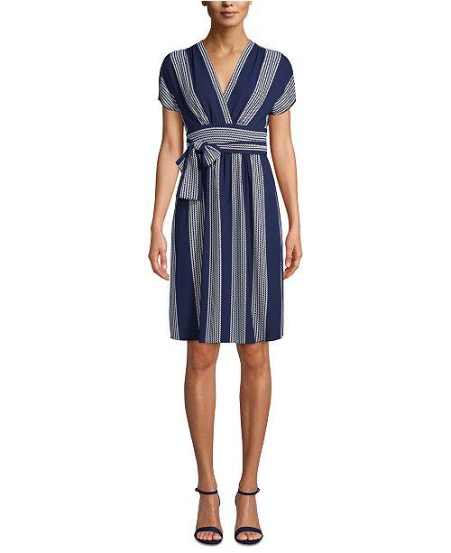 Anne Klein Printed V-Neck Wrap Dress