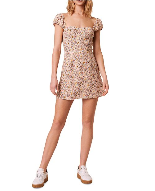 French Connection Printed Sweetheart-Neck Dress