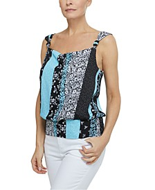Printed Knotted-Strap Top