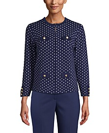 Dot-Print Button-Front Cardigan Sweater