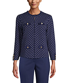 Anne Klein Dot-Print Button-Front Cardigan Sweater
