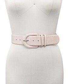 INC Croc-Embossed Stretch Belt With Covered Buckle, Created for Macy's
