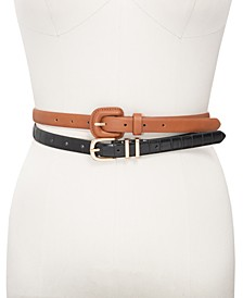 INC 2-for-1 Croco-Embossed Skinny Belts, Created for Macy's
