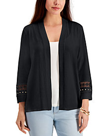 JM Collection Crochet-Trim Open Cardigan, Created for Macy's
