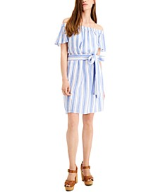 Petite Striped Off-The-Shoulder Cotton Dress