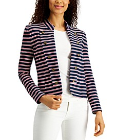 Striped Band-Collar Jacket