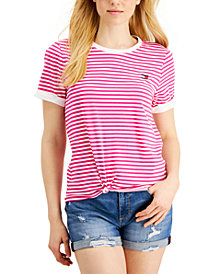 Tommy Hilfiger Sport Striped Knot Front T-Shirt