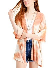 Juniors' Lace-Trimmed Tie-Dye Kimono