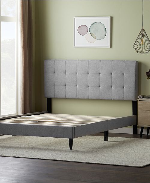 Dream Collection Upholstered Platform Bed Frame With Square Tufted Headboard California King Reviews Furniture Macy S
