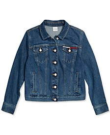 Women's Denim Trucker Jacket with Magnetic Closures