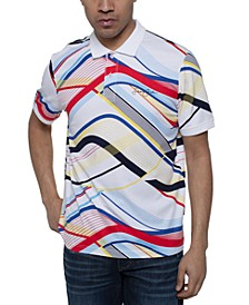 Men's Curved Lines Printed Polo Shirt