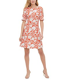 Petite Sorrento Cold-Shoulder Printed Dress