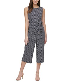 Rope-Print Belted Jumpsuit