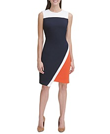 Colorblocked Asymmetrical Scuba Dress