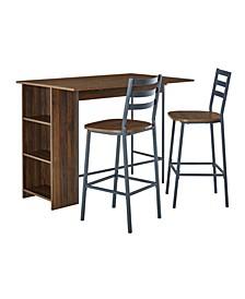 3 Piece Drop Leaf Counter Table Set