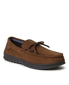 Ethan Perforated Moccasin with Tie Slipper