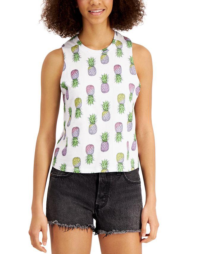 Rebellious One - Juniors' Pineapple Printed Tank Top