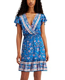 Juniors' Deep V-Neck Smocked-Waist Dress