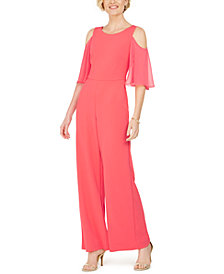 Connected Cold-Shoulder Chiffon-Sleeve Jumpsuit