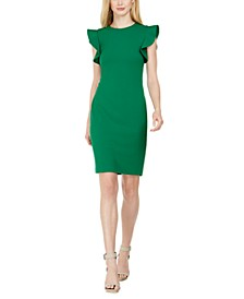 Petite Ruffle-Sleeve Sheath Dress