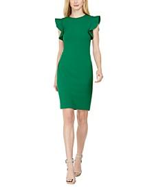 Petite Ruffle-Sleeve Sheath Dress