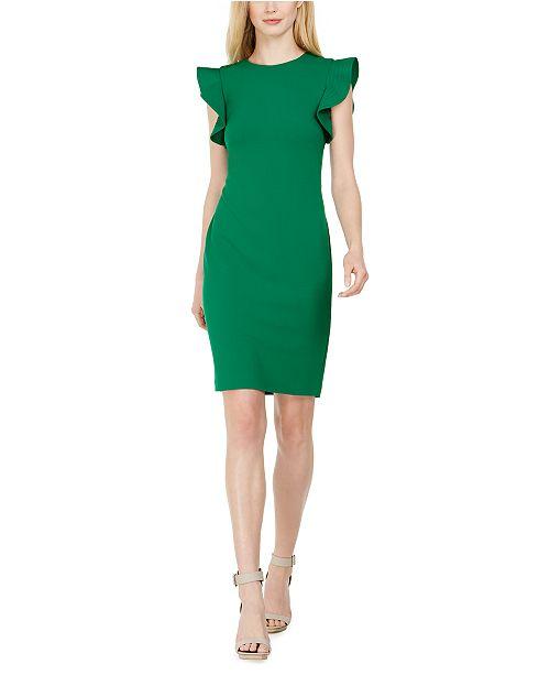 Calvin Klein Petite Ruffle-Sleeve Sheath Dress