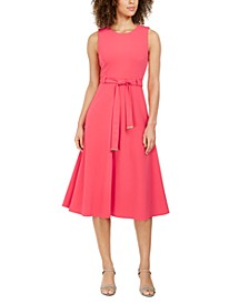 Belted Stretch Midi Dress