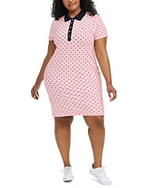 Plus Size Polka-Dot Polo Dress