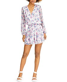Long-Sleeve Floral-Print Mini Dress