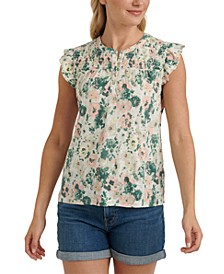 Cotton Floral-Print Smocked Top