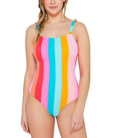 Juniors' Bands of Color Tie-Shoulder One-Piece Swimsuit, Created for Macy's