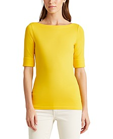 Petite Boatneck Elbow-Sleeve Top