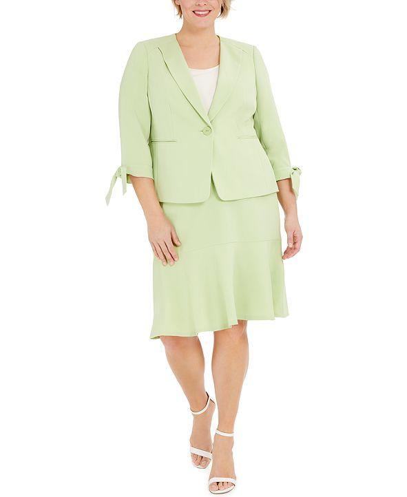 Le Suit Plus Size One-Button Tie-Sleeve Jacket and Skirt Suit