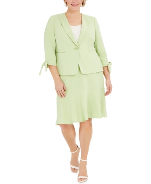 Plus Size One-Button Tie-Sleeve Jacket and Skirt Suit