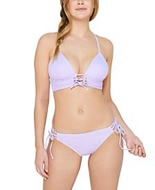 Juniors' Sailor Stripe Lace-Up Push-Up Bikini Top & Bikini Bottoms, Created for Macy's