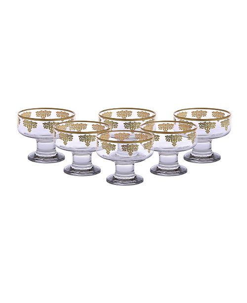 Classic Touch Dessert Bowls with 14K Gold Design, Set of 6