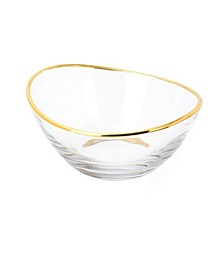 Glass Serving Bowl with 14K Gold Rim