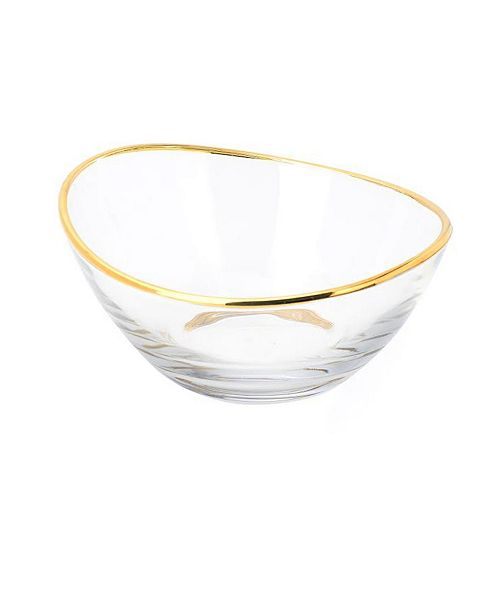 Classic Touch Glass Serving Bowl with 14K Gold Rim