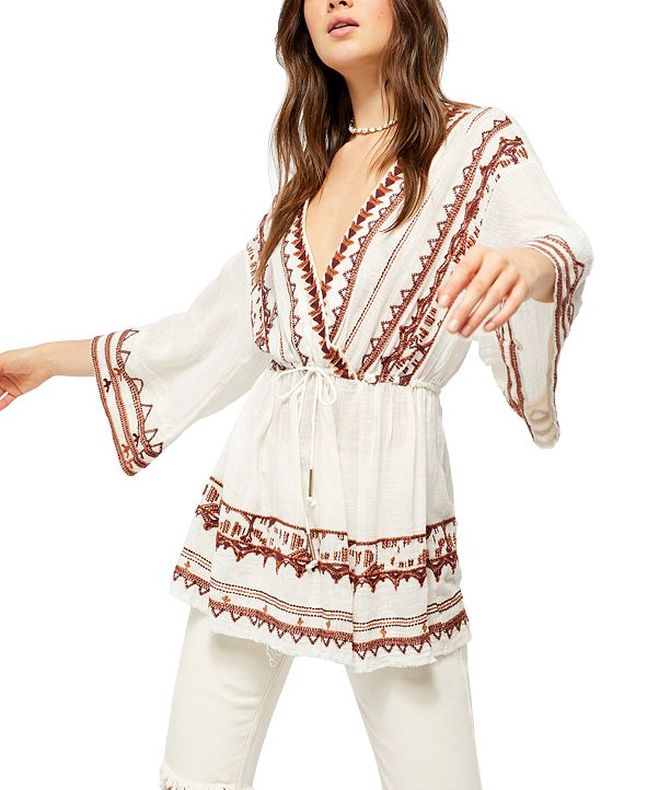 Free People Saffron Embroidered Tunic Top