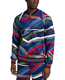 Men's Allover Curve Print Track Jacket