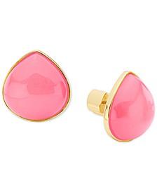 Gold-Tone Stone Stud Earrings