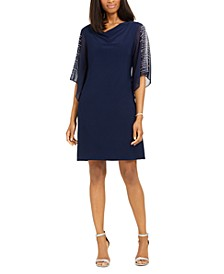 Embellished Split-Sleeve Sheath Dress