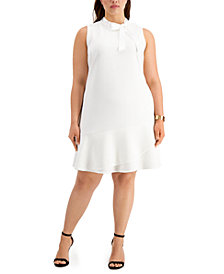 Betsey Johnson Trendy Plus Size Tie-Neck A-Line Dress