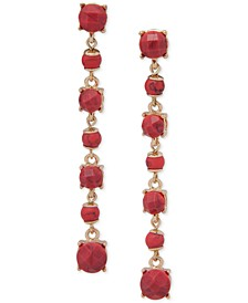 Stone & Bead Linear Drop Earrings